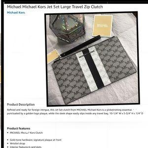 MICHAEL Michael Kors Center Stripe Jet Set GRY ZIP